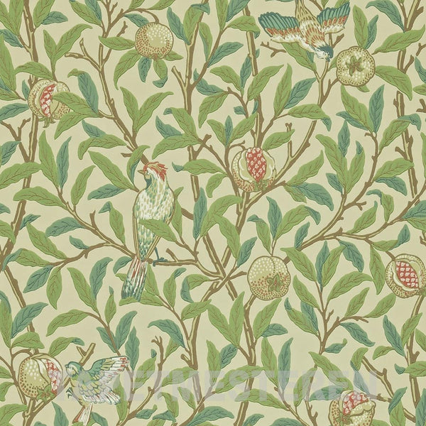 Bird & Pomegranate Tapet. Bayleaf/cream. William Morris tapet.