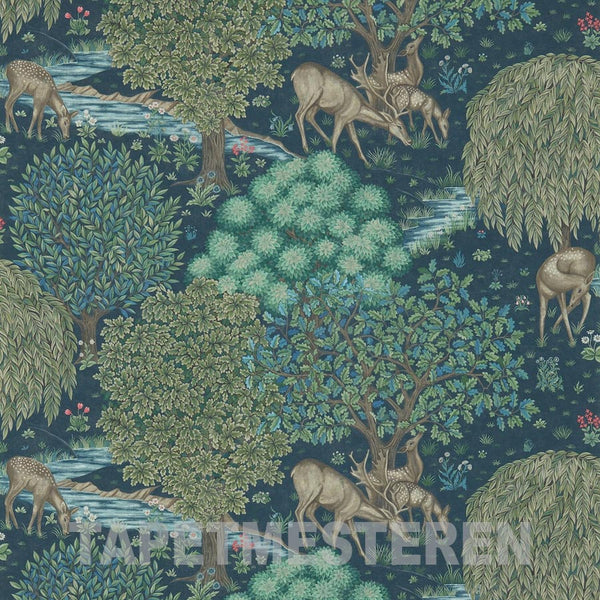 The Brook Tapet. Dark blue. William Morris tapet.