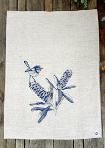 Tea Towel - Blue Wren & Banksia