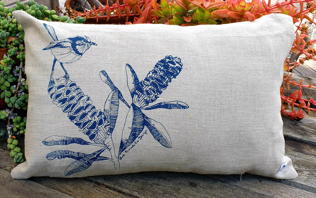 Cushion Cover - Blue Wren & Banksia