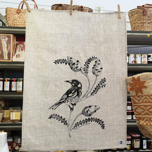 Light Natural Tea Towel - Honey Eater & Banksia.