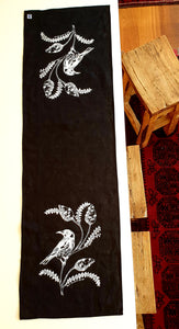 Black Table Runner - Honey Eater & Banksia