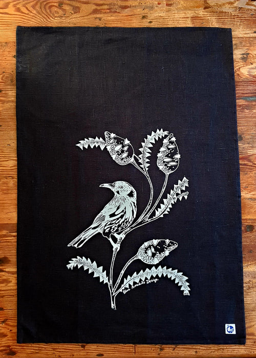 Black Tea Towel - Honey Eater & banksia