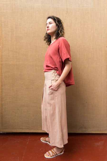 Pleat Wide Leg Pants - Himalayan Rhubarb-Women-The ANJELMS Project