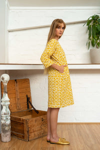 Half Sleeve Dress Moroccan Print Yellow-Women-The ANJELMS Project