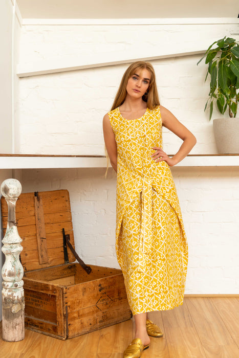 Wrap Dress Silk Cotton Moroccan Print Yellow-Women-The ANJELMS Project