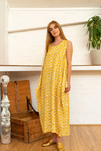 Load image into Gallery viewer, Wrap Dress Silk Cotton Moroccan Print Yellow-Women-The ANJELMS Project