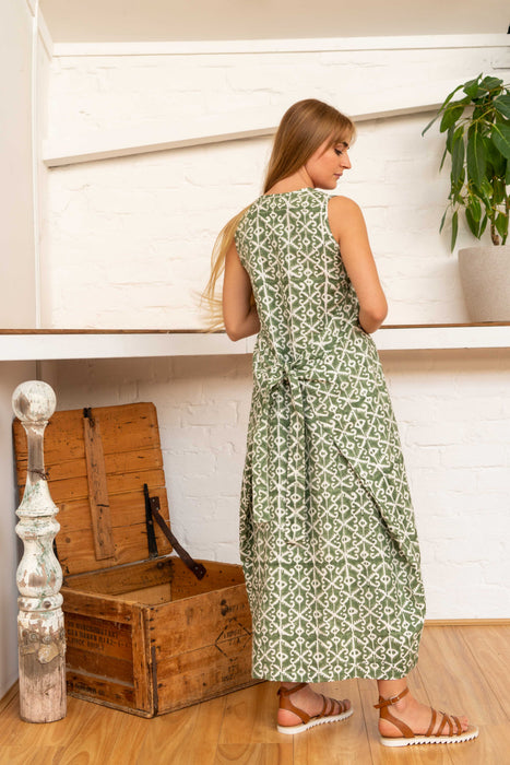 Wrap Dress Silk Cotton Moroccan Print Olive-Women-The ANJELMS Project