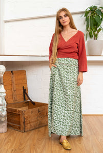 Maxi Skirt Moroccan Print Olive-Women-The ANJELMS Project