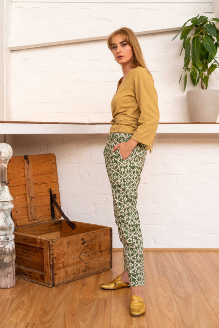 Tailored Pants Moroccan Print Olive-Women-The ANJELMS Project