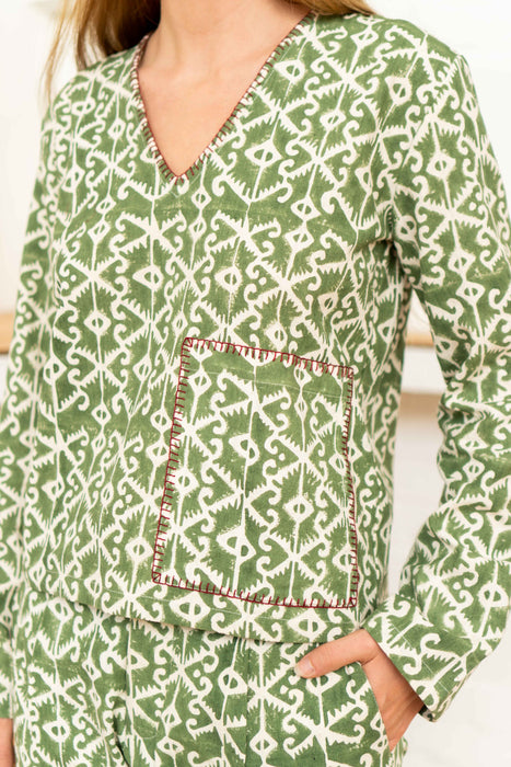 Pocket Top Moroccan Print Olive-Women-The ANJELMS Project