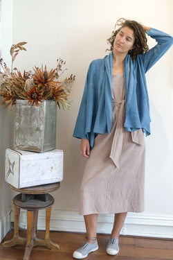 Cardigan Jacket - Silk Cotton-Women-S/M-Indigo-The ANJELMS Project