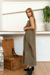 Wrap Dress Handloom Cotton Pomegranate/Iron-Women-The ANJELMS Project