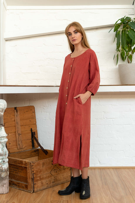 Buttoned Tie Long Dress Madder-Women-The ANJELMS Project