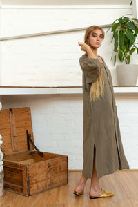 Buttoned Tie Long Dress Pomegranate/Iron-Women-The ANJELMS Project