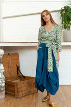 Load image into Gallery viewer, Wrap Shirt Moroccan Print Olive-Women-The ANJELMS Project