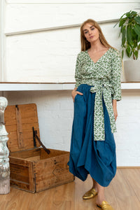 Wrap Shirt Moroccan Print Olive-Women-The ANJELMS Project