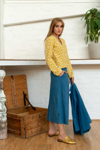 Pocket Top Moroccan Print Yellow-Women-The ANJELMS Project
