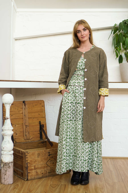 Reversible Coat - Pomegranate Iron/Moroccan Print Yellow-Women-The ANJELMS Project