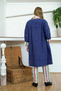 Reversible Coat - Indigo/Diamond Print-Women-The ANJELMS Project