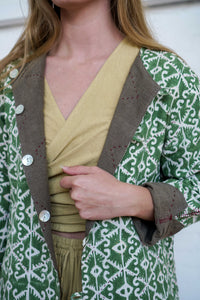 Reversible Jacket - Pomegranate Iron/Moroccan Print Olive-Women-The ANJELMS Project