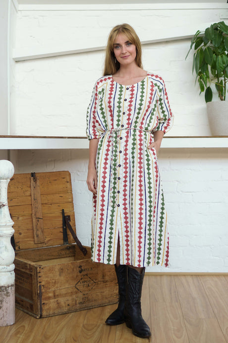 Buttoned Tie Long Dress Diamond Print-Women-The ANJELMS Project