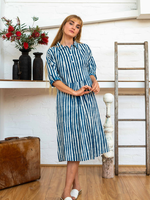 Long Sleeve Shirt Dress - Indigo Stripes-Women-The ANJELMS Project