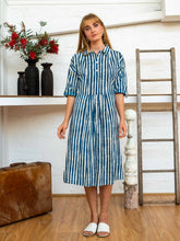 Load image into Gallery viewer, Long Sleeve Shirt Dress - Indigo Stripes