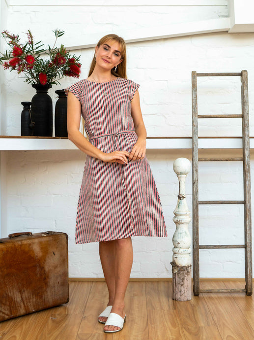 Cap Sleeve Dress - Red Pinstripe-Women-The ANJELMS Project