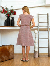 Load image into Gallery viewer, Cap Sleeve Dress - Red Pinstripe-Women-The ANJELMS Project