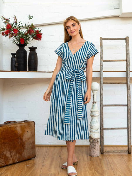 Tie Wrap Dress - Indigo Stripes-Women-The ANJELMS Project