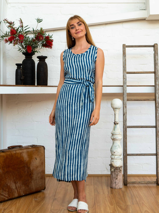 Wrap Dress - Indigo Stripes-Women-The ANJELMS Project