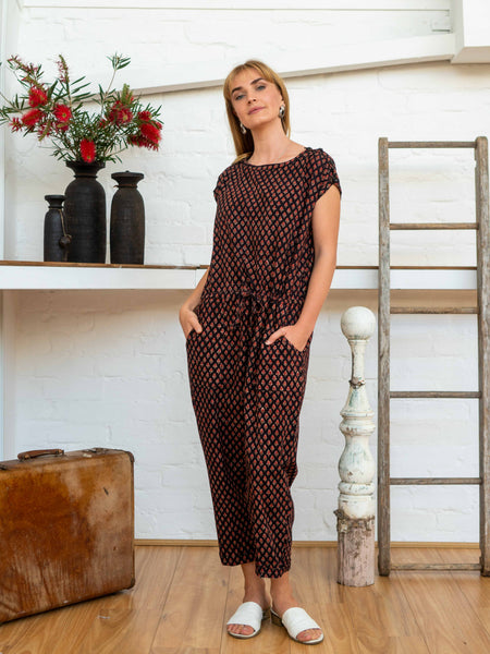 Drawstring Jumpsuit - Jaipur Floral-Women-The ANJELMS Project