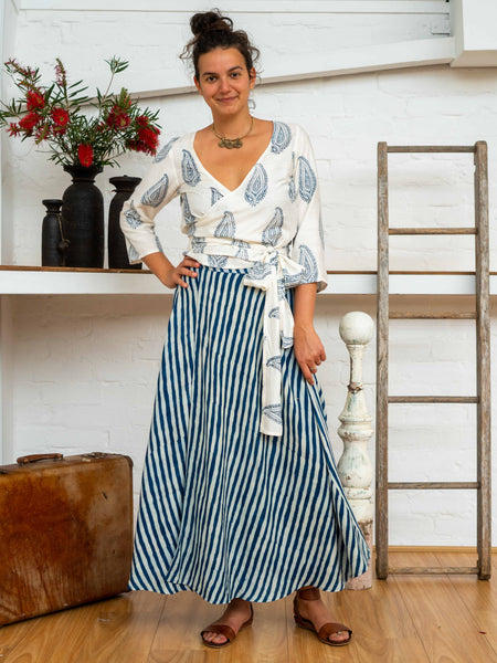 Wrap Skirt Long - Indigo Stripes-Women-The ANJELMS Project
