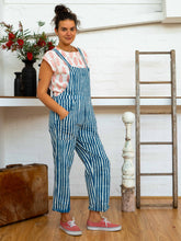 Load image into Gallery viewer, Work Overalls - Indigo Stripes-Women-The ANJELMS Project