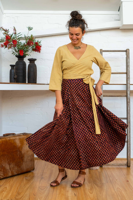 Wrap Skirt Long - Pushkar Rose-Women-The ANJELMS Project