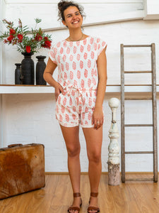 Tab Drawstring Shorts - Rose Bush-Women-The ANJELMS Project