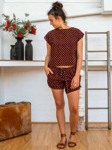 Tab Drawstring Shorts - Pushkar Rose-Women-The ANJELMS Project