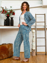 Load image into Gallery viewer, Long Pocket Pants - Indigo Stripes-Women-The ANJELMS Project