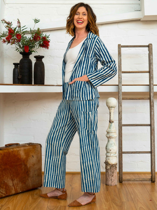 Jacket - Indigo Stripes-Women-The ANJELMS Project