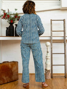 Long Pocket Pants - Indigo Stripes-Women-The ANJELMS Project