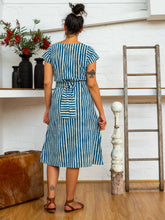 Load image into Gallery viewer, Tie Wrap Dress - Indigo Stripes-Women-The ANJELMS Project