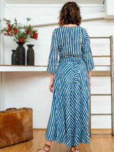 Load image into Gallery viewer, Wrap Shirt - Indigo Stripe-Women-The ANJELMS Project