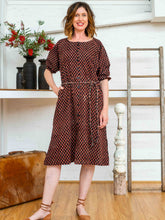 Load image into Gallery viewer, Long Button Tie Dress - Jaipur Floral-Women-The ANJELMS Project