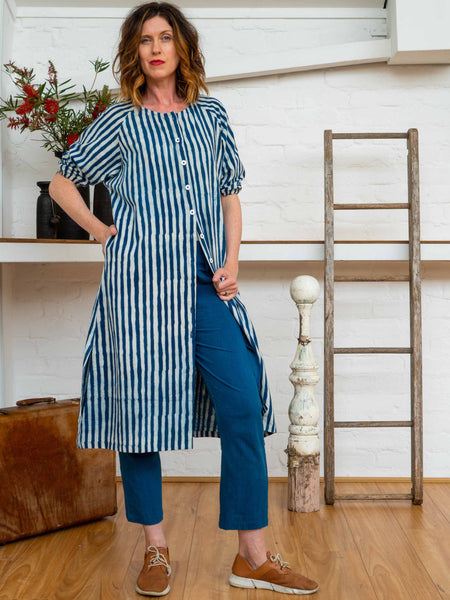 Long Button Tie Dress - Indigo Stripes-Women-The ANJELMS Project