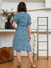 Load image into Gallery viewer, Long Button Tie Dress - Indigo Stripes-Women-The ANJELMS Project