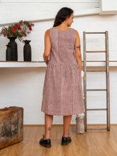 Load image into Gallery viewer, Drop Waist Dress - Red Pinstripe-Women-The ANJELMS Project
