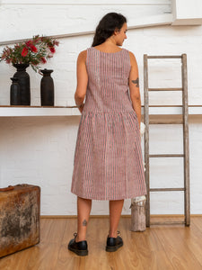 Drop Waist Dress - Red Pinstripe-Women-The ANJELMS Project