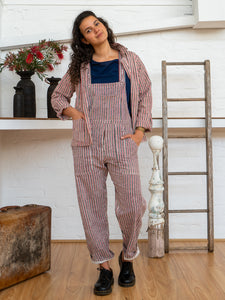 Work Overalls - Red Pinstripe-Women-The ANJELMS Project
