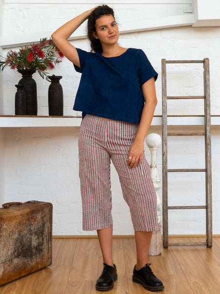 ¾ Pocket Pants - Red Pinstripe-Women-The ANJELMS Project